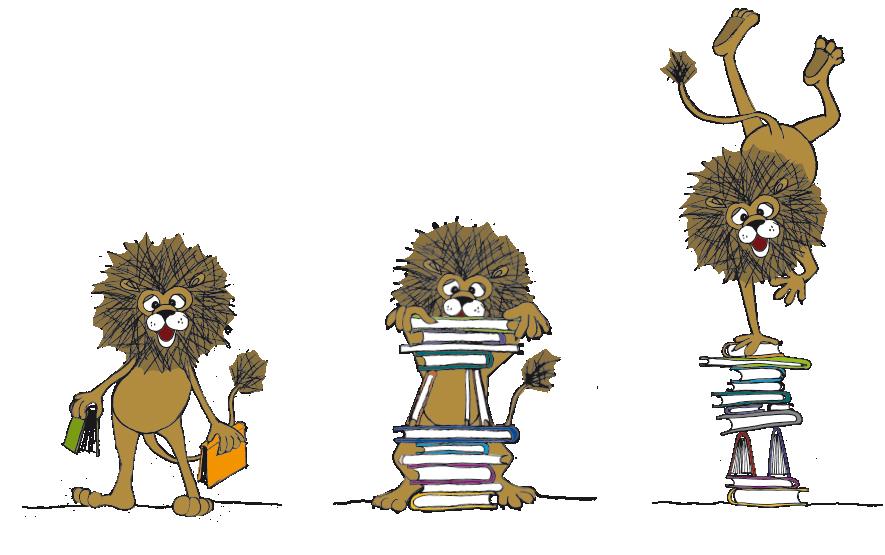 Maskottchen Bibliothek Obertrum Löwe Bücher