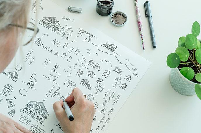 HerzanHerz Illustration Packaging Unternehmen Logo
