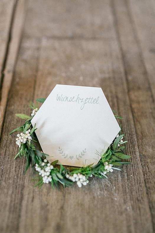 Hochzeitspapeterie 6-eckig geometric grün Wunschzettel