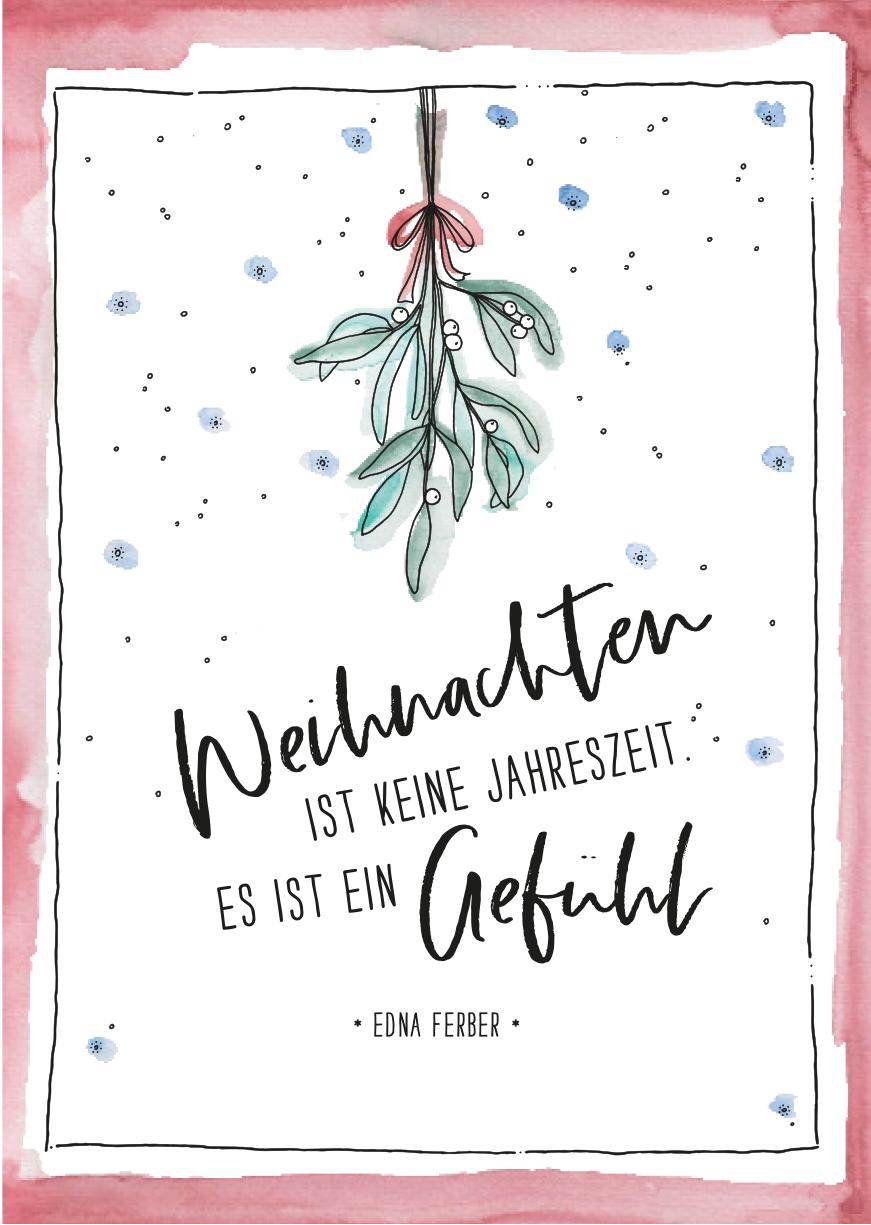 herz herzanherz jubelmoments jubeltage herz Sprüche Postkarten illustration aquarelle print weihnachten