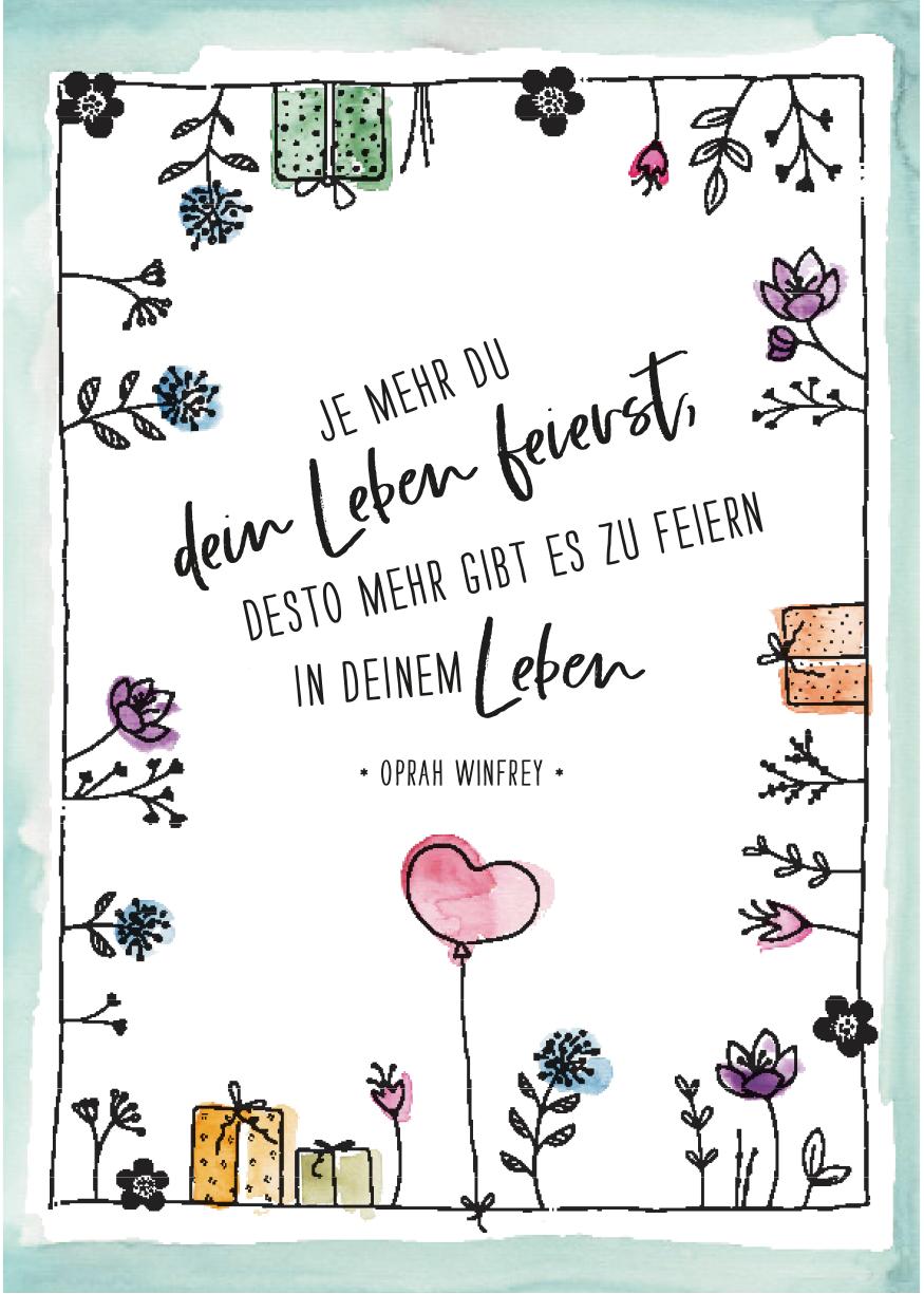 herzanherz jubelmoments jubeltage Sprüche Postkarten illustration aquarelle print leben feiern