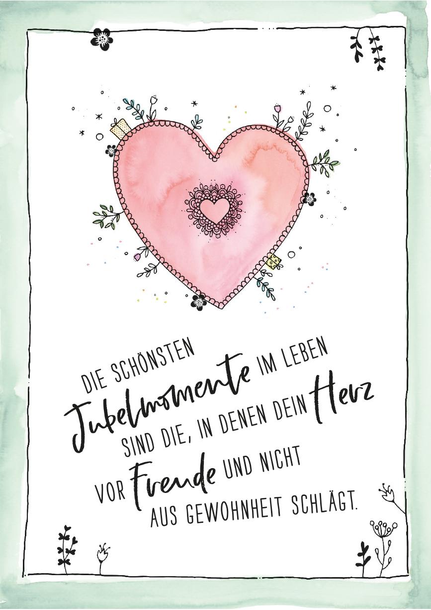 herzanherz jubelmoments jubeltage Sprüche Postkarten illustration aquarelle print herz freude handgezeichnet