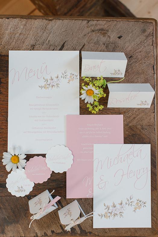 Illustration Hochzeit Papeterie - Einladung, Tischkarten