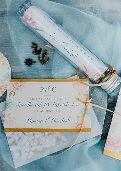 herzanherz herz Save-the-Date aquarelle handgezeichnet Blumendesign gold wedding papeterie Hochzeit Flaschenpost