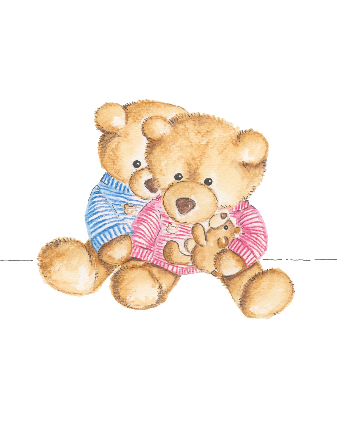 teddybären illustration handgezeichnet individuell aquarelle gezeichnet family bärenfamilie