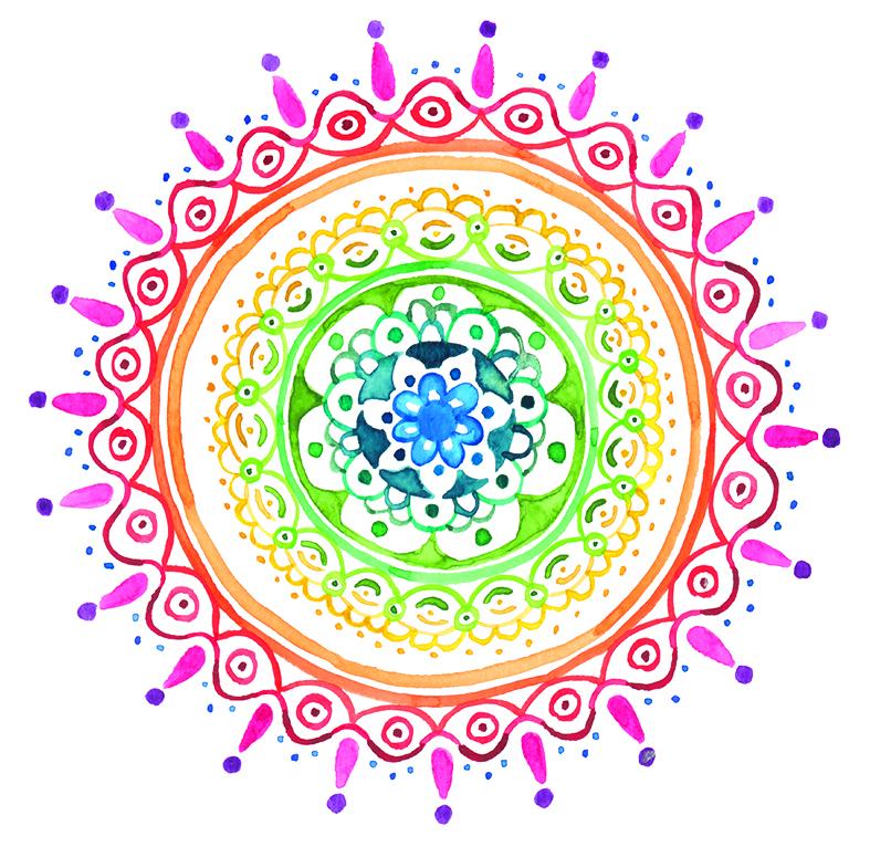 herzanherz herz chakra mandala aquarelle bunt