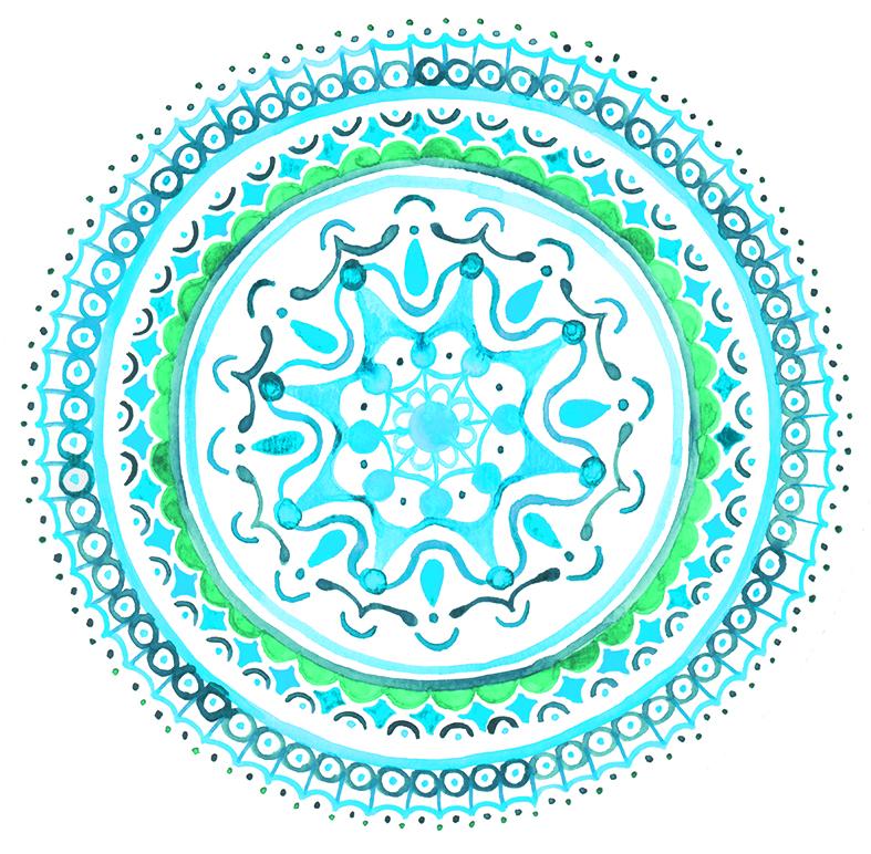 herzanherz herz chakra mandala aquarelle türkis halschakra