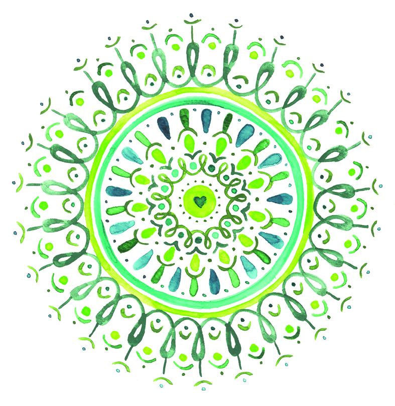 herzanherz herz chakra mandala aquarelle grün herzchakra