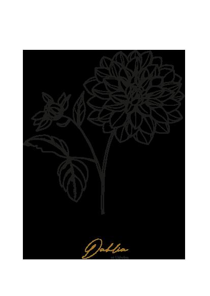 gezeichnet handgezeichnet Illustration Blume Logo Herz Lineart Dahlie