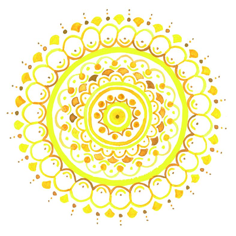 herzanherz herz chakra mandala aquarelle gelb solarplexus chakra