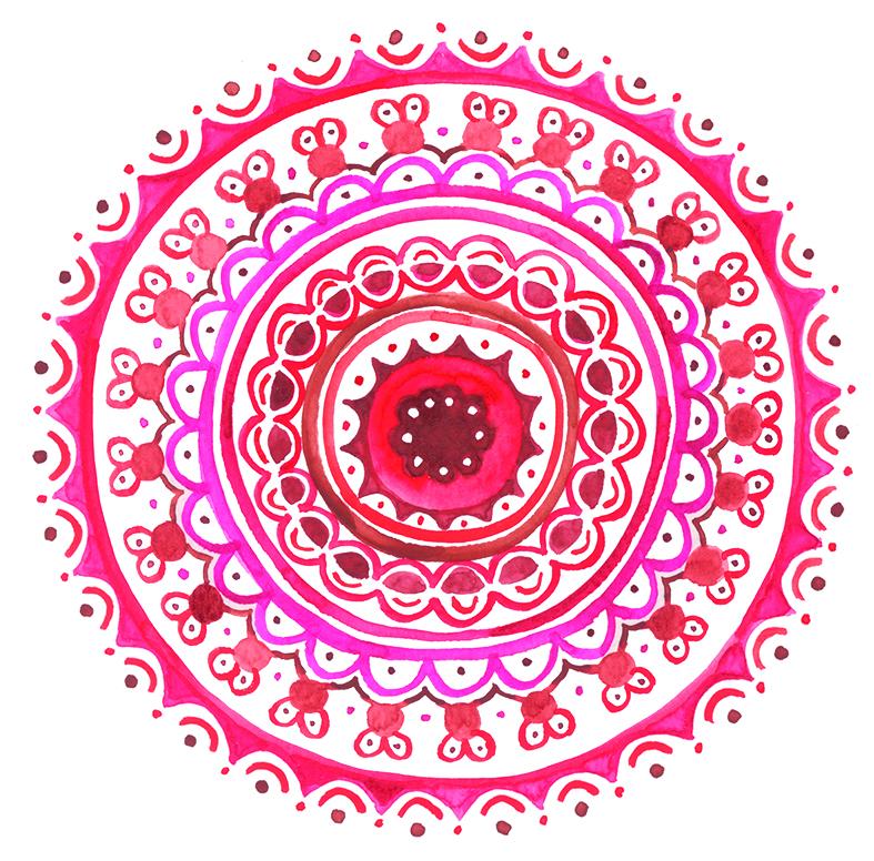 herzanherz herz chakra mandala aquarelle rot wurzelchakra